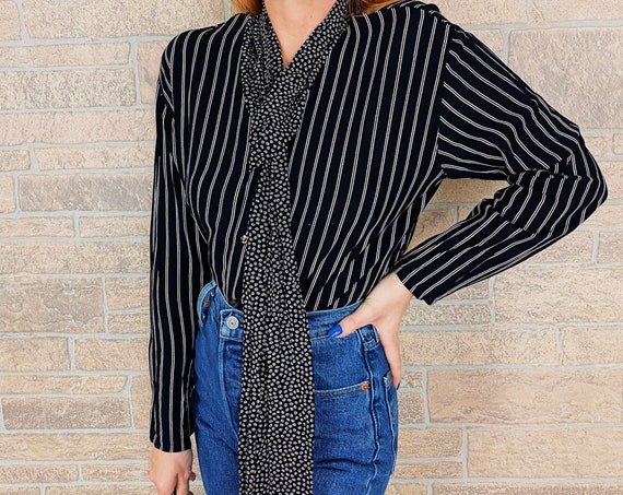 Vintage Striped Black and White Neck Tie Blouse