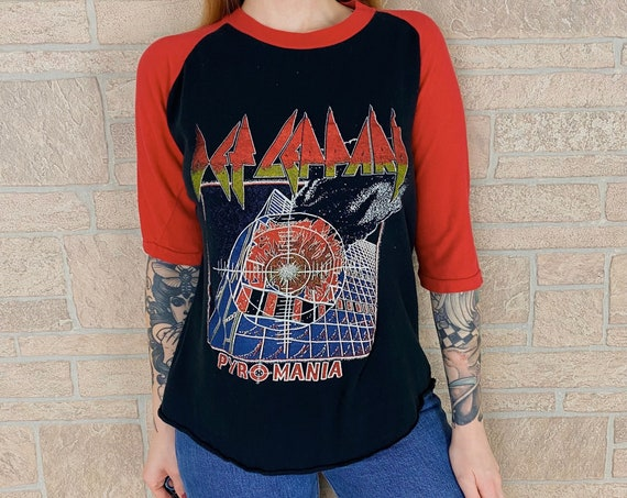 80's Def Leppard Pyromania Raglan Band Tee