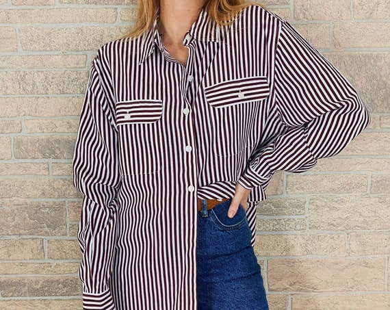 Pinstriped Burgundy and White Button Up Blouse