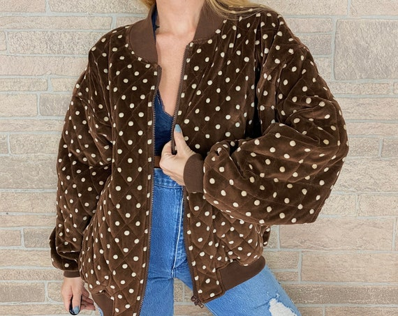 Quilted Polka Dot Bomber Jacket