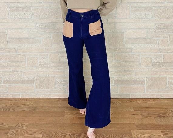 60's Vintage Corduroy Two Tone Bell Bottom Pants / Size 29 30