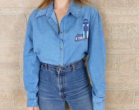 Oversized Denim Lighthouse Embroidered Button Up Shirt