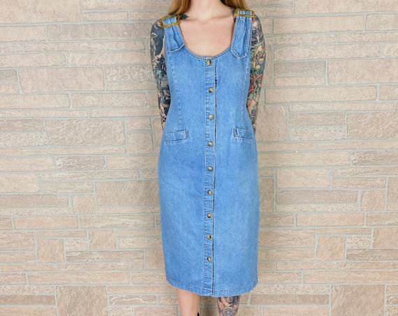 90's Buckle Strap Denim Button Up Midi Dress