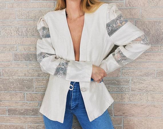 80's Chic Pearl White Blazer Jacket