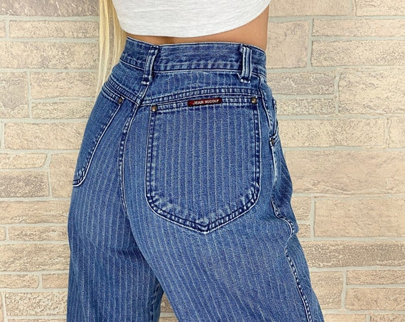 70's Pinstriped High Rise Jeans / Size 23 24