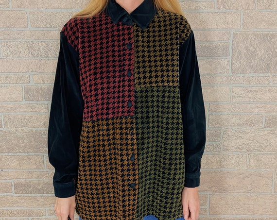 Colorblock Houndstooth Oversized Velour Shirt