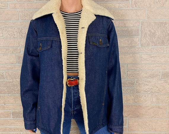 60's Sherpa Lined Denim Chore Coat