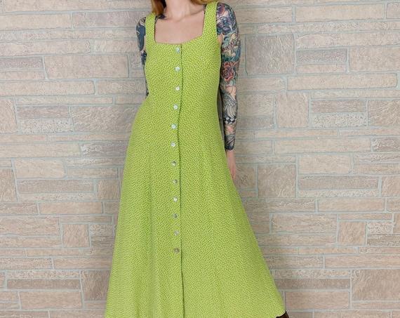 Polka Dot Lime Green Button Front Maxi Dress