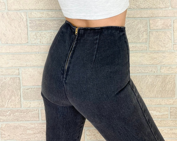 80's High Waisted Black Hot Pant Jeans / Size XS 24 25