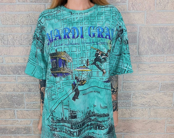 90's Mardi Gras All Over Print New Orleans Shirt