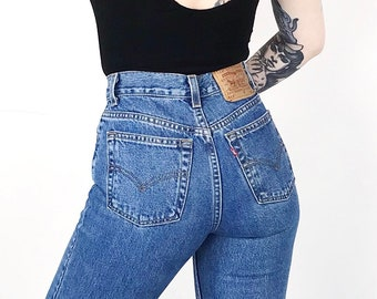 5615794a921 Levi's 512 Classic Blue Denim High Waisted Slim Fit Jeans // Women's size  25 0 XS