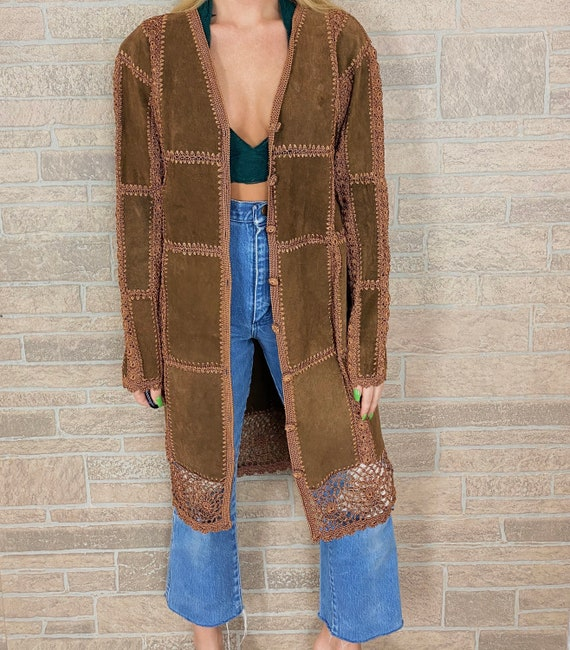 Suede and Macrame Patchwork Duster Coat