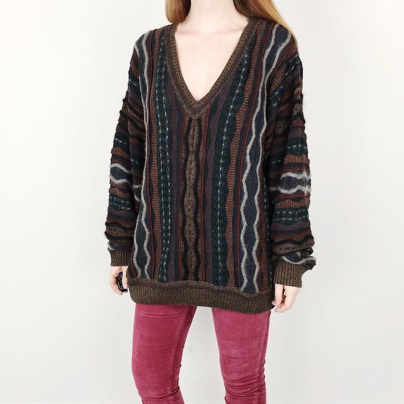 432aaaf4b276 90 s Oversized Chunky Knit Multicolor Coogi Style Pullover