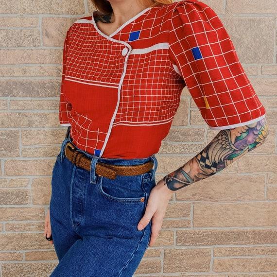 60's Mod Chic Geometric Novelty Blouse