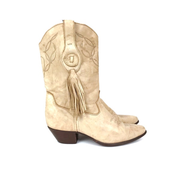 Laredo Marbled Beige Leather Western Boots / Size 7.5