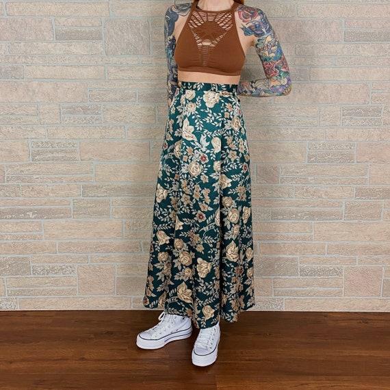 High Rise Silky Floral Maxi Skirt