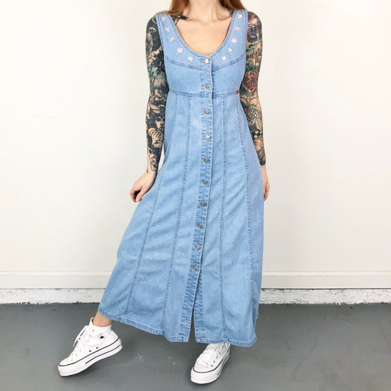 90's Denim Button Front Embroidered Maxi Dress