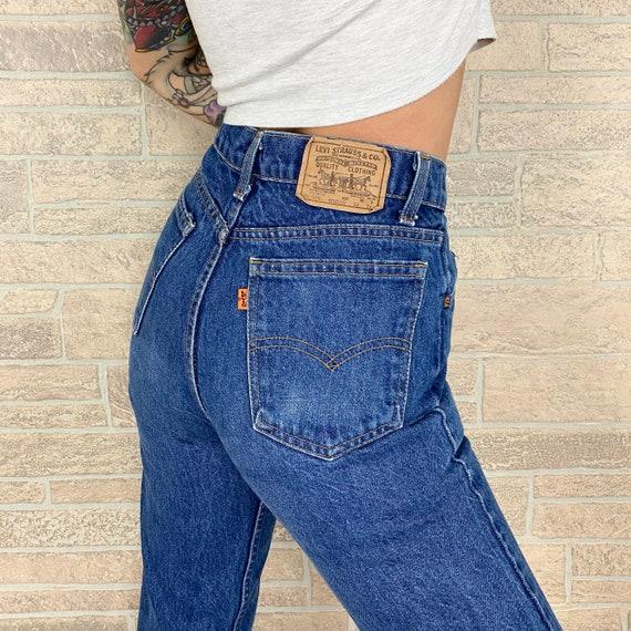 70's Levi's 718 Orange Tab Jeans / Size 26 27