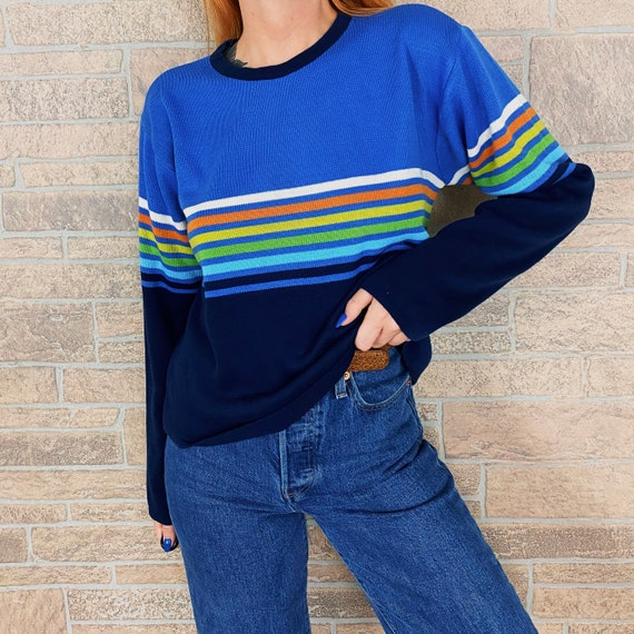 70's Rainbow Striped Pullover Sweater