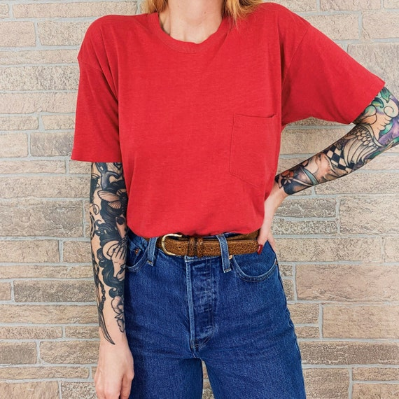 70's Paper Thin Red Pocket Tee T-Shirt