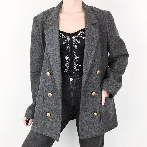 70's Mod Chic Wool Charcoal Grey Blazer Jacket / Size Small