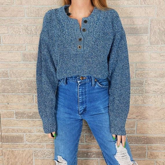 Blue Henley Fisherman Pullover Sweater