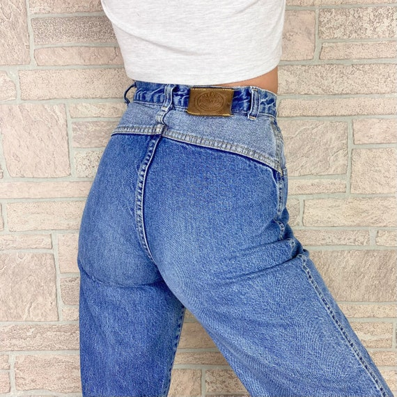 80's Two Tone High Waisted Jeans / Size 24