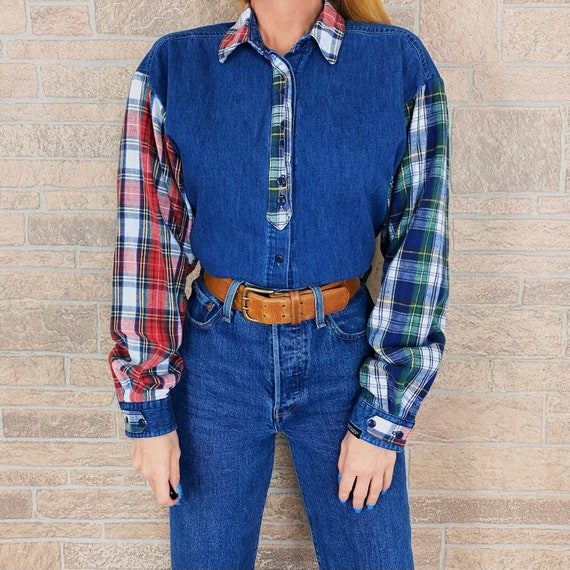 Rockies Plaid Flannel Denim Shirt