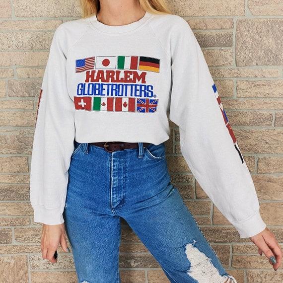 RARE 80's Harlem Globetrotters Raglan Pullover Swe