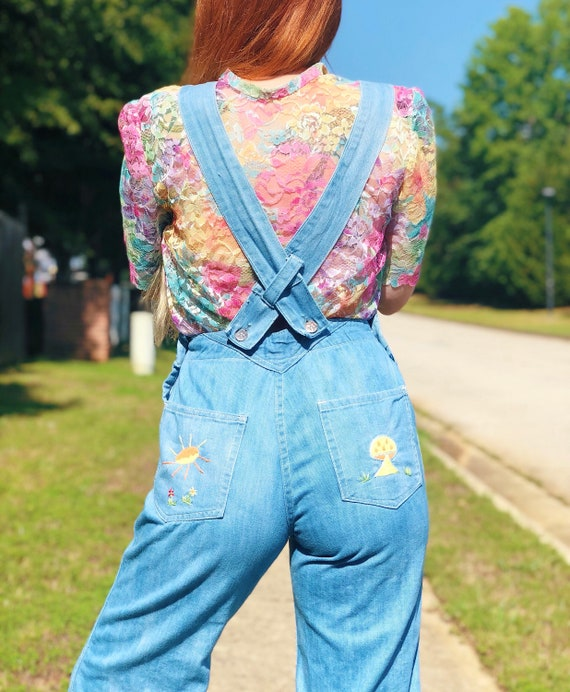 60's Bell Bottom Embroidered Hippie Overalls Dungarees