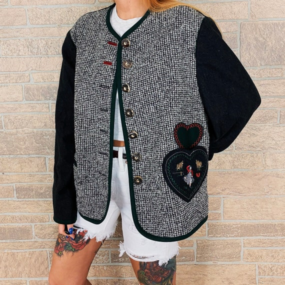 Vintage Tweed Embroidered Blazer Jacket