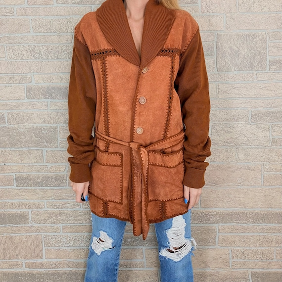 60's Terracotta Patchwork Suede and Macrame Knit C