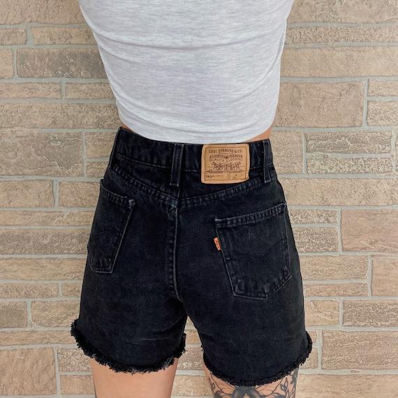 Levi's Black Denim Orange Tab Shorts / Size 24
