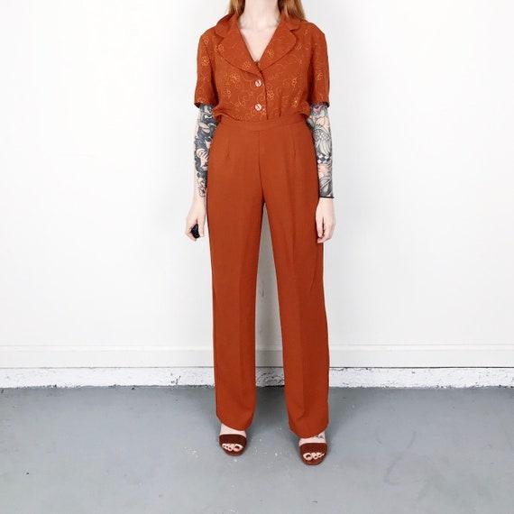 Burnt Orange Two Piece Suit Matching Set / Size Sm