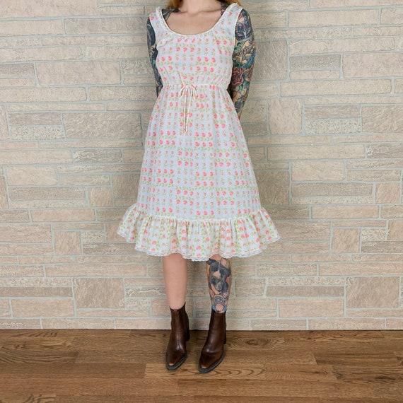 Delicate 1960's Soft Light Cotton Floral Prairie Day Dress