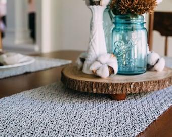 Hand woven Gray Table Runner, Hygge Home , Modern Woven Runner, New Home, Wall Hanging, Summer Neutral,  Cotton Yarn