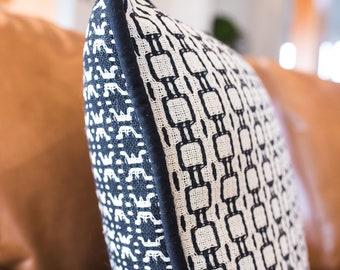 "Hand woven Pillow Cover - Black and Ecru - 20"" X 20"" pillow - Large Decorative Pillow - Black Cotton Pillow - Geometric Accent Pillow -"