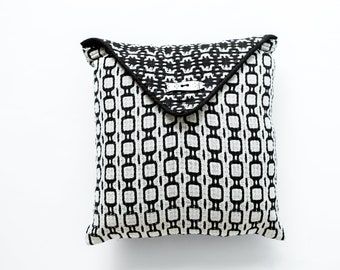 Hand woven Black and Ecru - Envelope Pillow Cover - With Wooden Button - Decorative Pillow - Black Pillow - Throw Pillow - Accent Pillow