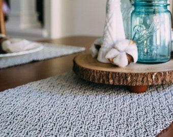 Hand Woven Gray and Ecru Table Runner - Neutral Home Decor - Hygge Home Decor - Scandinavian Home Decor - Modern Table Decor