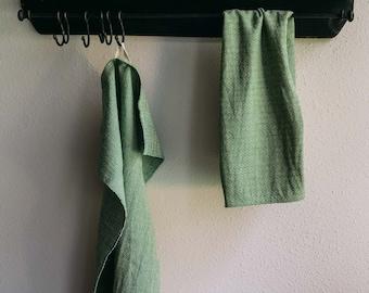 Hand woven Green Organic Cotton/Linen Tea Towel - Green Linen Tea Towel- Organic Green Kitchen Towel - Handwoven Hand towel - Linen Kitchen