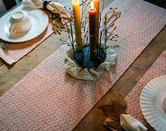 Handwoven  Fall Table Runner - Fall runner - Window Pane /Weave - Cotton Ecru and Terra Cotta Table Runner