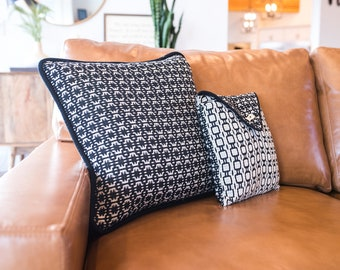 """Hand woven Deflected Double Weave Pillow Cover Duo - Black and Ecru - Geometric Modern - Tribal - Envelope Style Set of Two 20x 20"""" & 12x12"""""""