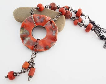 Red Necklace | Recycled African Glass | Ceramic Pendant | Jasper Gemstone | Artisan Necklace | OOAK Beaded Necklace | The Blue Hutch