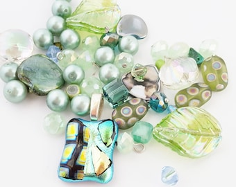 Light Green Beads Mix | Dichroic Glass Pendant | Jewelry DIY Kit | Orphan Beads | Czech Glass | Mother of Pearl | The Blue Hutch