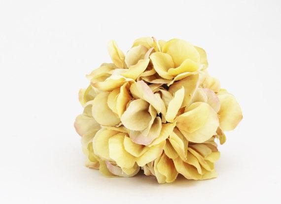 Yellow flower ball hydrangea petals kissing ball wedding flower ball wreath flowers pomander silk flower ball the blue hutch image 0 mightylinksfo
