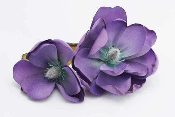Purple magnolia artificial silk flower blossoms hair crown etsy image 0 mightylinksfo