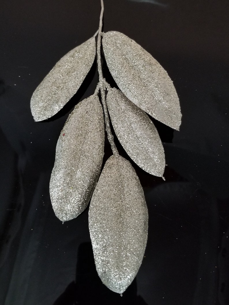Wedding Greenery Faux Greenery Millinery Leaves The Blue Hutch 1006 DIY Bouquet 8 Glittered Silver Peony Leaves Wreath Filler
