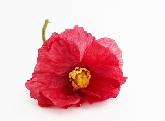 Bargain 8 red poppy artificial poppies wedding etsy image 0 mightylinksfo