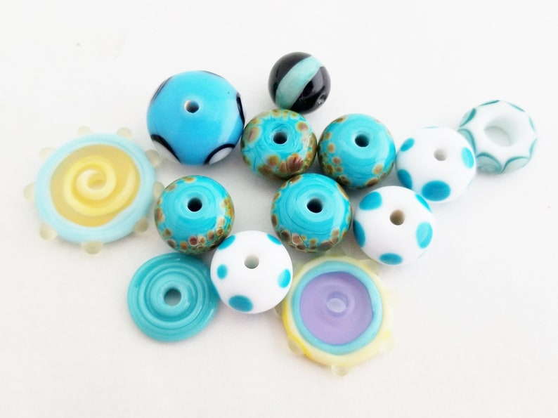 Destash Beads Torch Fired Enamel Lampwork Beads The Blue Hutch OB17 DIY Jewelry Kit 26 Turquoise Beads Orphan Beads
