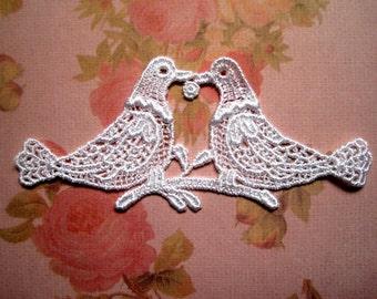 Venice Lace Doves Appliques, White, x 3, Embellishment For Scrapbook, Mixed Media, Accessories, Decor, Romantic & Victorian Crafts